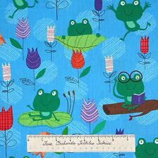Spring Fabric - Frog Flowers Floral Lily Pad on Blue Timeless Treasures YARD