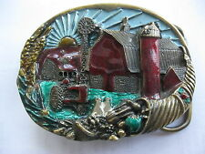 VINTAGE 1982 FARM SCENE TRACTOR, BARN, SILO, WINDMILL BELT BUCKLE