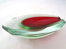 Poli Seguso Murano Sommerso Red Green Italian Art Glass tear shaped Bowl label