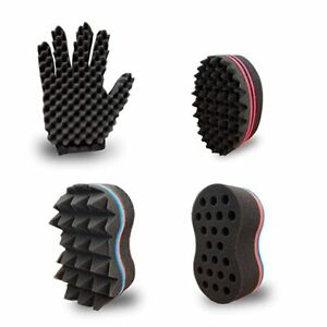 Curl Twist Sponge Glove (Right) and 3 Big Holes Hair Brush Double Sided Sponge