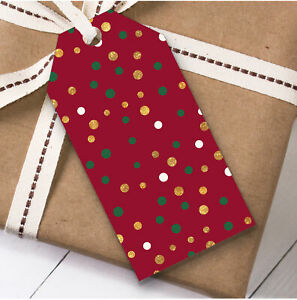 Red Gold And White Dots Christmas Gift Tags (Present Favor Labels)