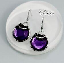 Costume Fashion Earring Hook Silver Purple Crystal Round Class Pendant Retro D9