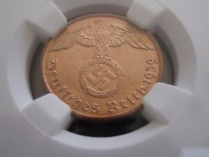 Third Reich 2 Reichspfennig 1939 D NGC MS67 none higher grading Pfennig TOP POP