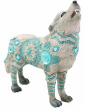 """6.25""""L Snow White Howling Wolf w Turquoise Tribal Totem Spirit Figurine Statue"""
