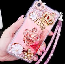 Girl's Mirror Luxury Bling Diamond Love Crown Ring Strap Soft Phone Case Cover
