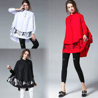 Plus size Womens casual shirts Loose printing Blouses Long sleeve Ruffles Tops