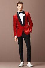 Men Red Velvet Coat Jacket Blazer Fashion Designer Grooms Wedding Tuxedo Casual