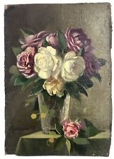 Late 19th Century French Impressionist Still Life of Roses, Signed, Dated 1889