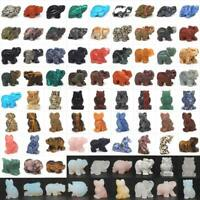 Animal Statue Stone Carved Elephant Figurine Crystal Healing Rock Decor Articles