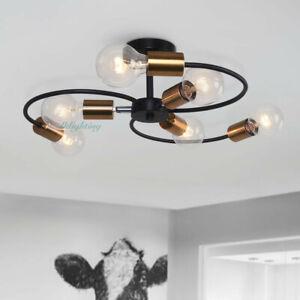6 Lights Modern Semi Flush Mount Ceiling Industrial Sputnik Chandelier Fixtures