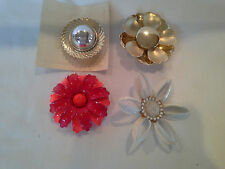 Box Lot of 4 Large Vintage Flower Pin  Brooch