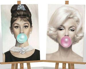 "Marilyn Monroe Audrey Hepburn Bubble Gum Framed Canvas Print Picture 30""x20"""
