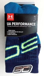 Under Armour SC Performance Training Crew Socks 3 Pairs Pack 13.5K-4Y Blue New