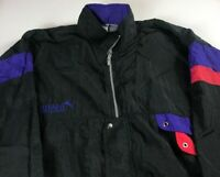 Puma Windbreaker Jacket VTG Mens XL/2XL Nylon Vented Full Zip Black Purple Red