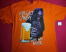 NWT - Forget Candy Give Me Beer Halloween T-Shirt Orange XL (46-48) (*)