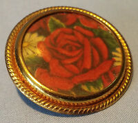 Vintage Red Rose Pin Brooch Gold Tone