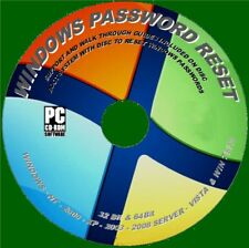 WINDOWS LOST PASSWORD RESET CD WIN XP, VISTA,7, 8,10 BOOT DISC FULL INSTRUCTIONS