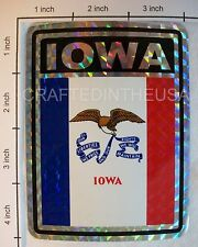 """Reflective Sticker Iowa State Flag 3x4"""" Inches Adhesive Car Bumper Decal New"""