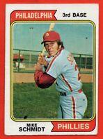 1974 Topps #283 Mike Schmidt VG-VGEX+ WRINKLE STAIN Philadelphia Phillies HOF