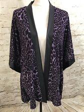 NEW SLINK BRAND Purple Cheetah Print Cardigan Cover Up Jacket F6629