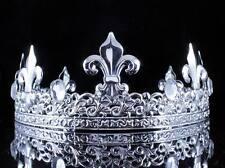 FULL KING'S SILVER METAL CROWN AUSTRIAN RHINESTONE CRYSTAL FLEUR-DE-LIS T11933S