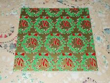 VTG CHRISTMAS WRAPPING PAPER GIFT WRAP 1960 MCM WREATHS ON GOLD RED RIBBON NOS