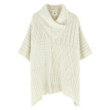 Aran Traditions Womens Ladies Cream Cable Knit Style Poncho Shawl Winter Warm