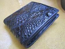 Portafoglio da Uomo Coccodrillo/Alligatore Pelle Portafoglio Bifold Nero Autentico Vintage 1449