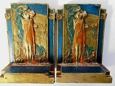 "Beautiful ART NOUVEAU BOOKENDS ""THE KISS"" by POMPEIAN BRONZE CO., N.Y.; RARE"