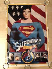 Vintage 1979 Christopher Reeve SUPERMAN The Movie Flag Portrait Poster 23 x 35