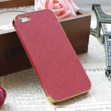 Frame Luxury Leather Chrome Hard Back Case Cover For iPhone 5 5S Red Gold