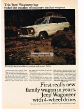 1965 Kaiser Jeep Wagoneer driving in a stream Vtg Print Ad