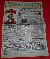 Magazine Hebdogiciel [n°84 24 Mai 85] Amstrad  MSX Atari Commodore NO TILT *JRF*