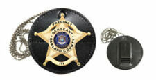 Leather Clip-On Badge Case - Round