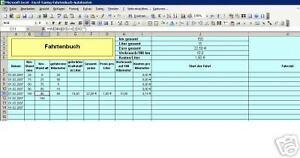 Fahrtenbuch und Autokostenberechnungsprogramm MS Excel