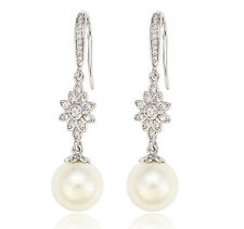 Long Pearls Earrings Zirconia Silver 750 White Gold 18 K Gold Plated