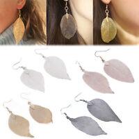 1 PAIR Women's Natural Real Dipped Leaf Leaves Dangle Earrings Hook Studs