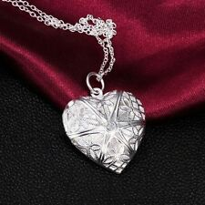 Gift Silver Plated Pendant Love Heart Valentine Lover Locket Chain Necklace