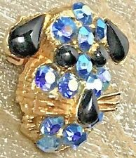 ADORABLE Vintage Rhinestone Dog Puppy Floppy Ears Face Brooch Pin ESTATE JEWELRY