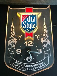 Vintage Old Style Beer Wall Clock  Light Bar Sign ...Working