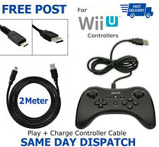 2 Meter Long Charger Charging Cable Lead Nintendo Wii U Pro Controller New