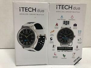 iTech Duo Perforated Silicone Strap Hybrid Smartwatch, White/Black/Silver New