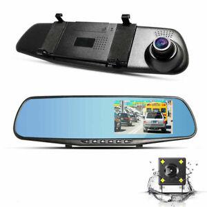 4.3'' HD Dual Lens Car DVR Dash Cam Front and Rear Mirror Camera Video Recorder