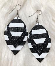 Classic Black White Stripe  & Black Glitter Faux Leather Earrings Triple Layer