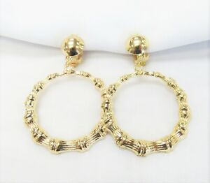 Gold Plated Round Bamboo Dangle Drop CLIP ON Fashion Earrings  # 067 Clip-ons