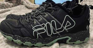 FILA BLACK / MINT GREEN ATHLETIC GYM EVERDAY MEMORY FOAM TENNIS SHOE /SNEAKER