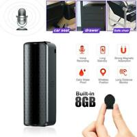 Digital Audio Sound Recorder 8GB Small Voice Activated Mini Clip On Magnetic NEW