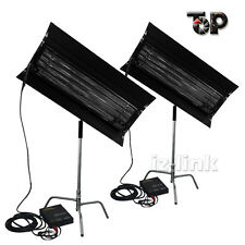 With Egg Crate 2Kit 300W 4FT 4Bank Fluorescent Light+Ballast +C-Stand As Kinoflo