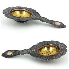 Antique Russian Hallmark 875 Gold Gild Over Silver Tea Strainer Floral Design