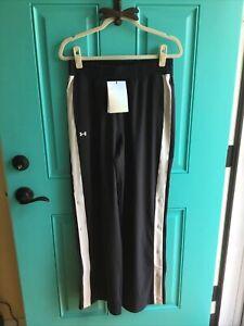 Under Armour Women's Black Athletic Recovery Pants Tom Brady Wide Leg Snaps Sz M